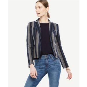 Ann Taylor blue black striped newbury blazer 16